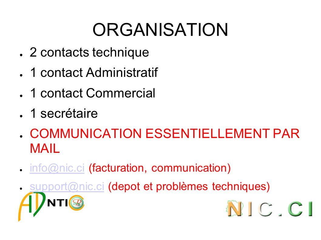 ORGANISATION 2 contacts technique 1 contact Administratif 1 contact Commercial 1 secrétaire COMMUNICATION ESSENTIELLEMENT PAR MAIL info@nic.ci (factur