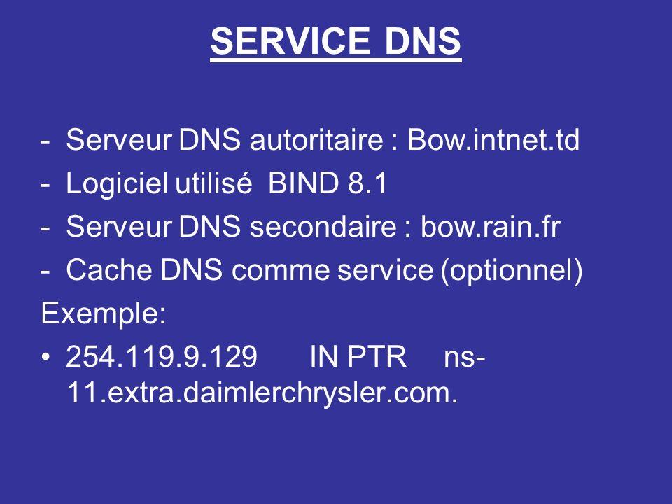 SERVICE DNS -Serveur DNS autoritaire : Bow.intnet.td -Logiciel utilisé BIND 8.1 -Serveur DNS secondaire : bow.rain.fr -Cache DNS comme service (optionnel) Exemple: 254.119.9.129IN PTR ns- 11.extra.daimlerchrysler.com.