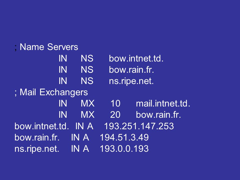 ; Name Servers IN NS bow.intnet.td. IN NS bow.rain.fr.
