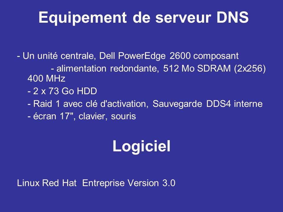 Equipement de serveur DNS - Un unité centrale, Dell PowerEdge 2600 composant - alimentation redondante, 512 Mo SDRAM (2x256) 400 MHz - 2 x 73 Go HDD - Raid 1 avec clé d activation, Sauvegarde DDS4 interne - écran 17 , clavier, souris Logiciel Linux Red Hat Entreprise Version 3.0