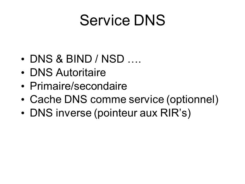 Service DNS DNS & BIND / NSD ….