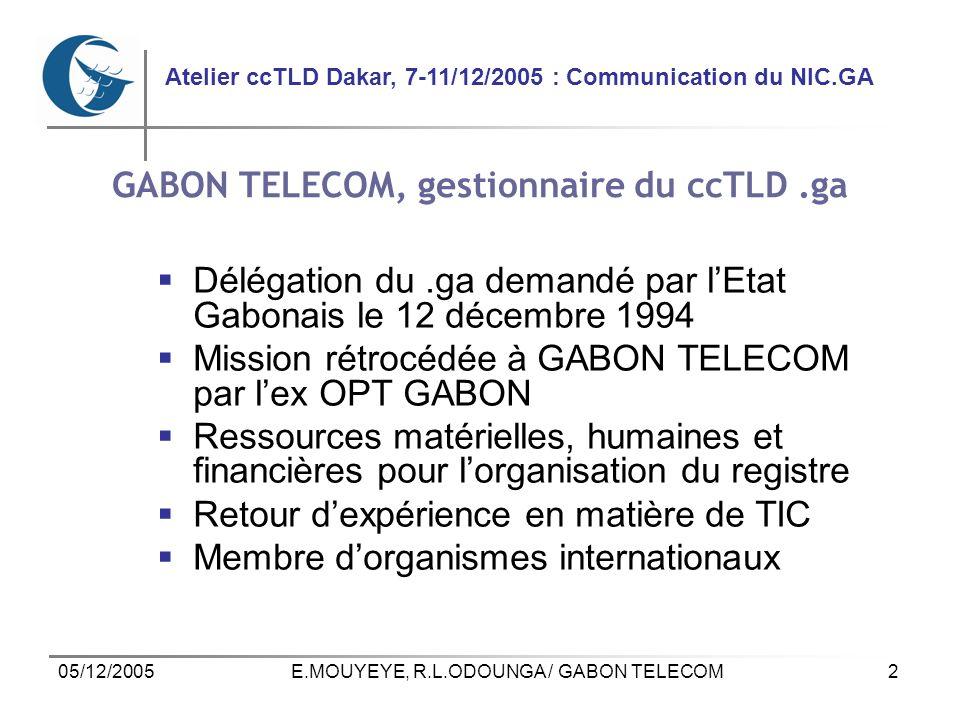 2 Atelier ccTLD Dakar, 7-11/12/2005 : Communication du NIC.GA 05/12/2005E.MOUYEYE, R.L.ODOUNGA / GABON TELECOM GABON TELECOM, gestionnaire du ccTLD.ga Délégation du.ga demandé par lEtat Gabonais le 12 décembre 1994 Mission rétrocédée à GABON TELECOM par lex OPT GABON Ressources matérielles, humaines et financières pour lorganisation du registre Retour dexpérience en matière de TIC Membre dorganismes internationaux