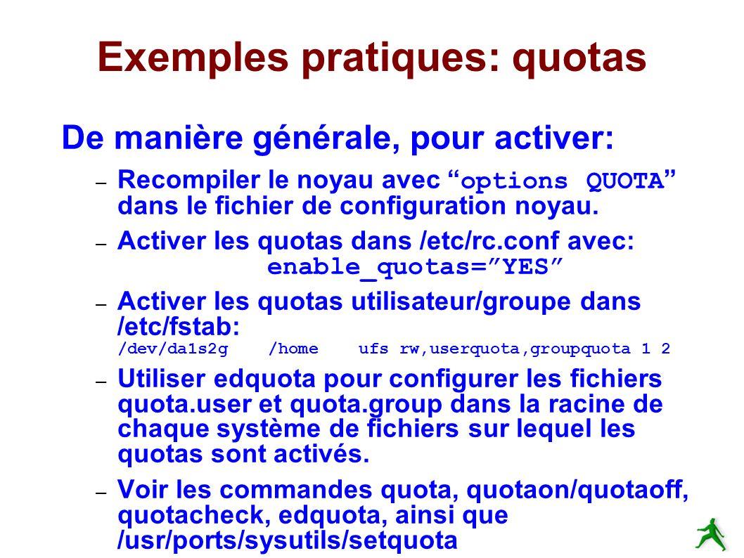 Exemples pratiques: quotas De manière générale, pour activer: – Recompiler le noyau avec options QUOTA dans le fichier de configuration noyau.