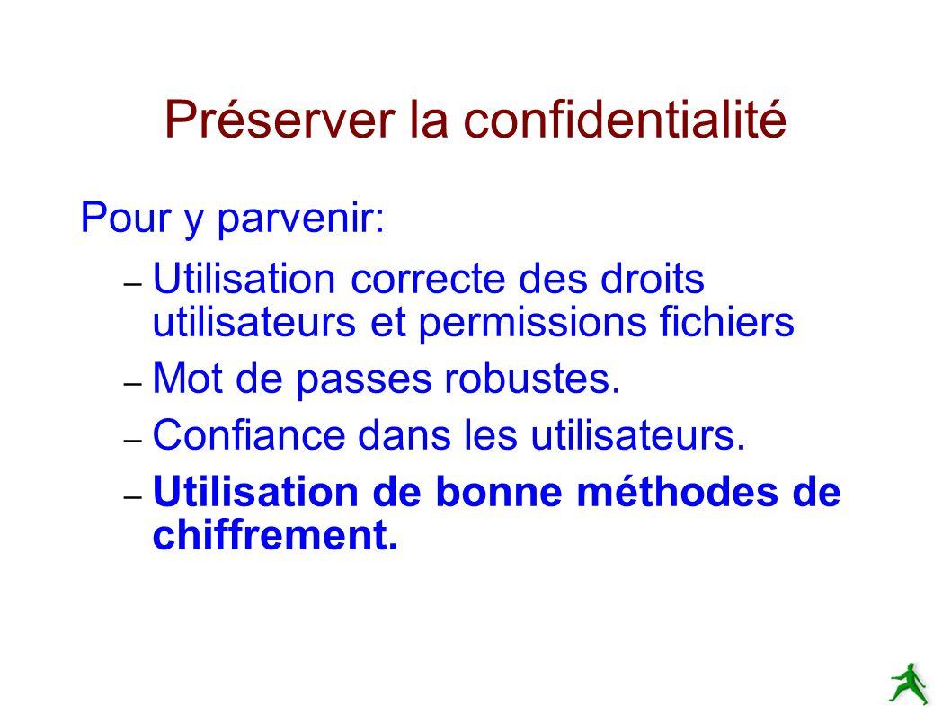 Préserver la confidentialité Pour y parvenir: – Utilisation correcte des droits utilisateurs et permissions fichiers – Mot de passes robustes.