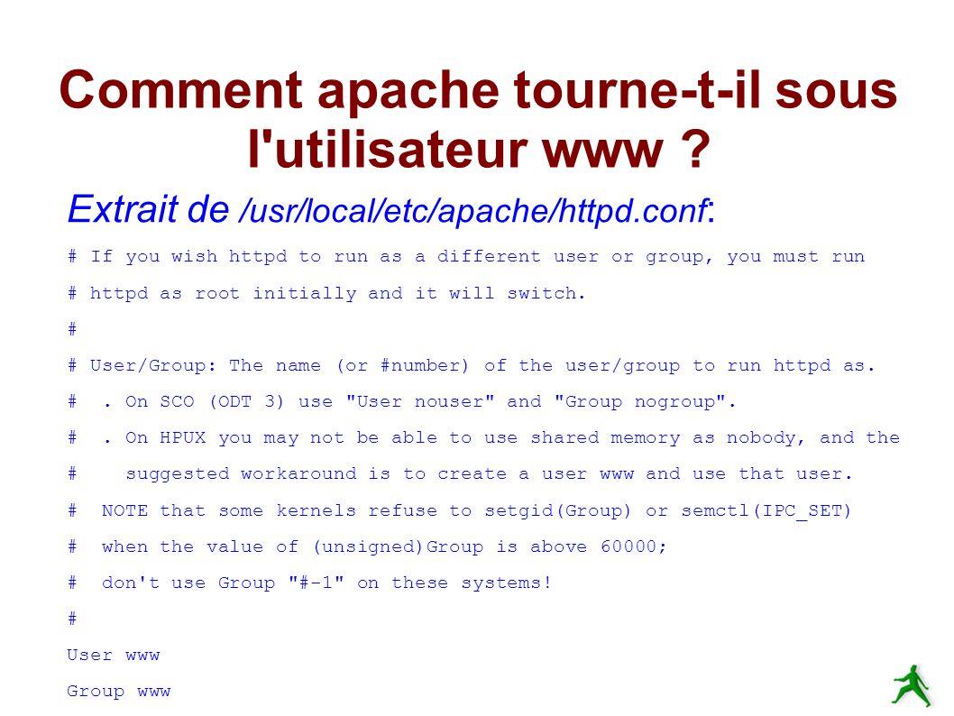 Comment apache tourne-t-il sous l utilisateur www .