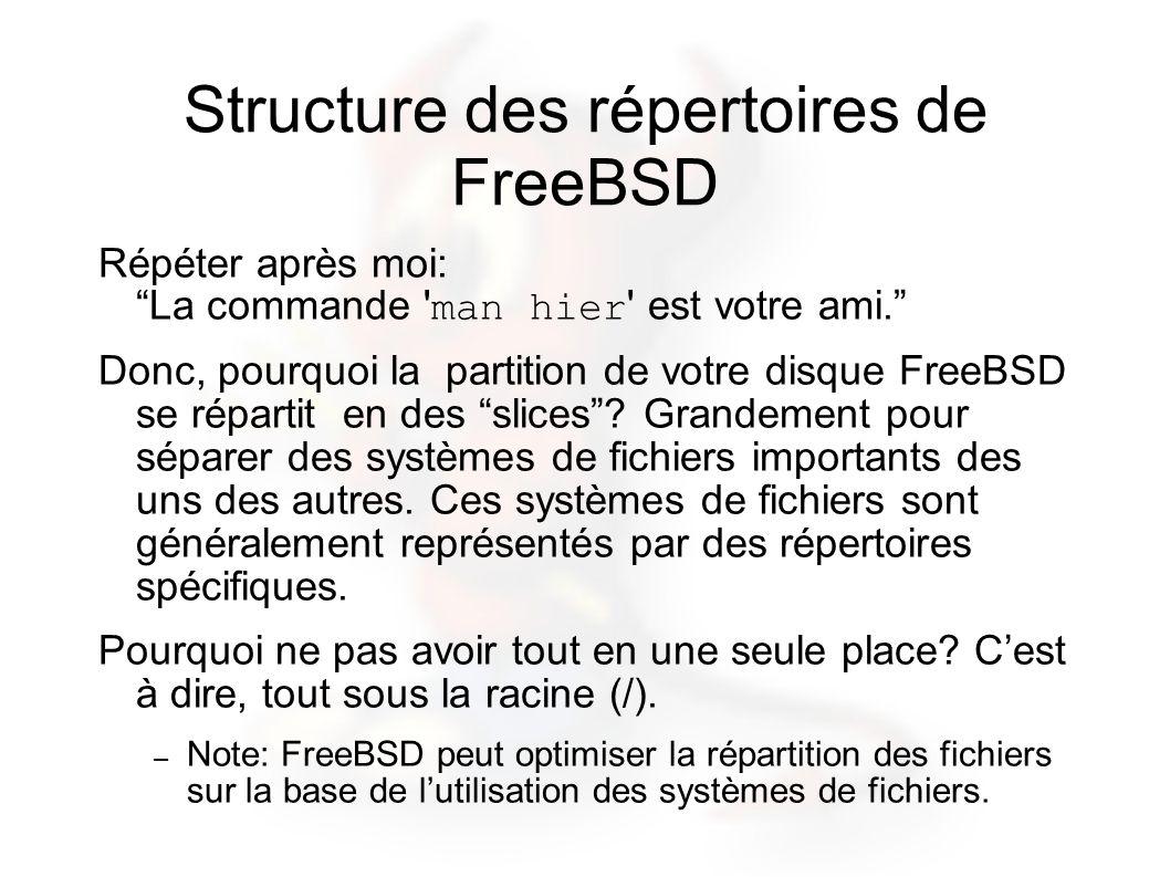Structure des répertoires de FreeBSD Répéter après moi: La commande 'man hier' est votre ami. Donc, pourquoi la partition de votre disque FreeBSD se r