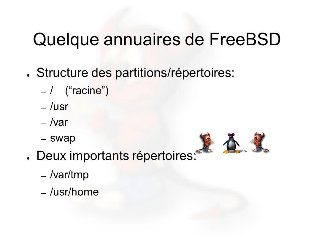 Quelque annuaires de FreeBSD Structure des partitions/répertoires: – /(racine) – /usr – /var – swap Deux importants répertoires: – /var/tmp – /usr/home