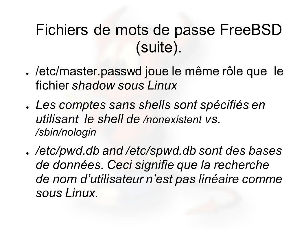 Fichiers de mots de passe FreeBSD (suite). /etc/master.passwd joue le même rôle que le fichier shadow sous Linux Les comptes sans shells sont spécifié