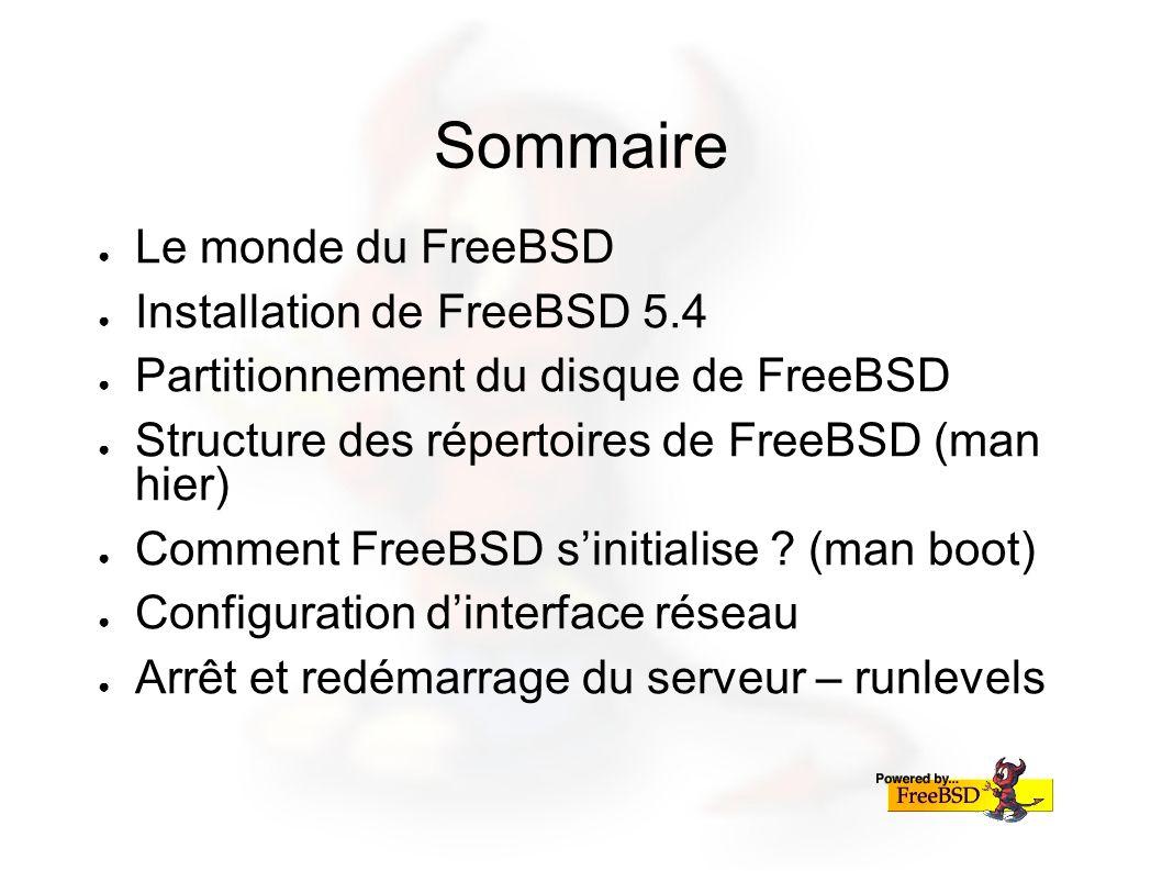 Sommaire Le monde du FreeBSD Installation de FreeBSD 5.4 Partitionnement du disque de FreeBSD Structure des répertoires de FreeBSD (man hier) Comment FreeBSD sinitialise .
