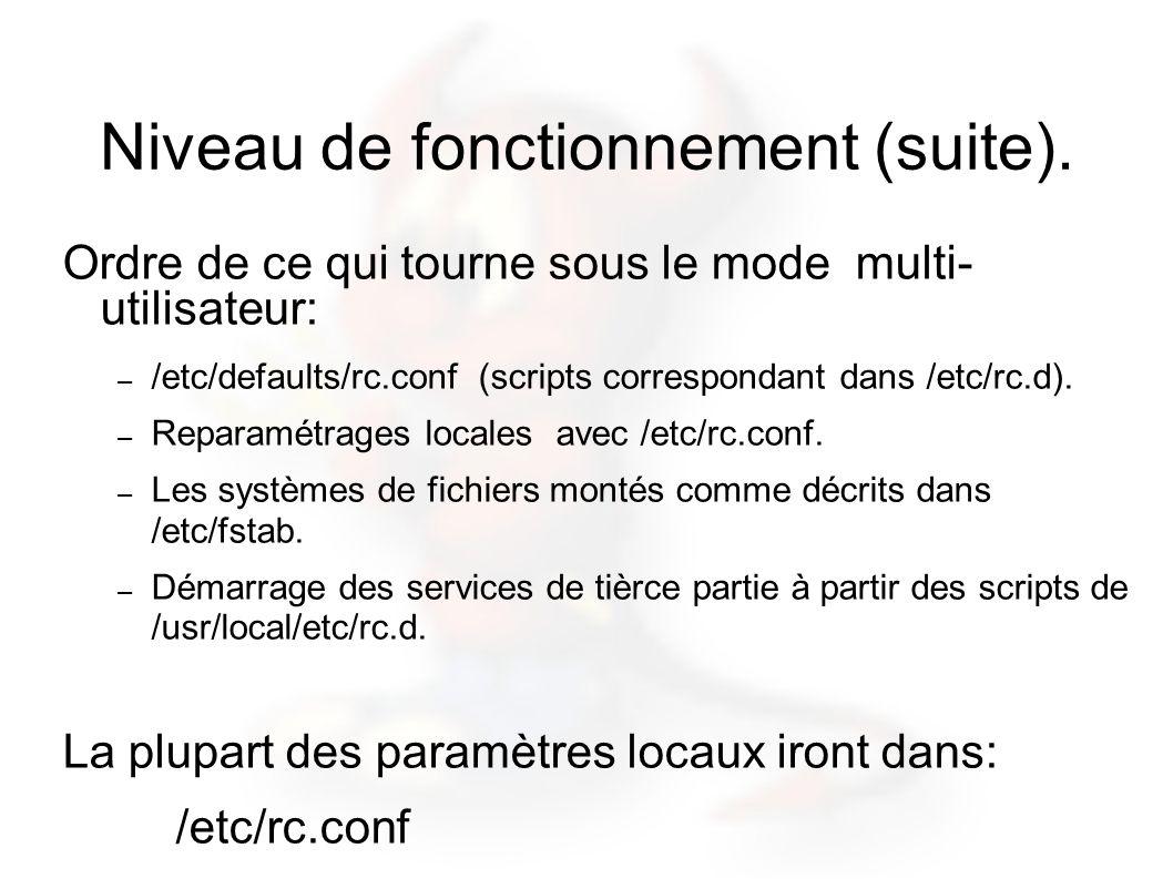 Niveau de fonctionnement (suite). Ordre de ce qui tourne sous le mode multi- utilisateur: – /etc/defaults/rc.conf (scripts correspondant dans /etc/rc.