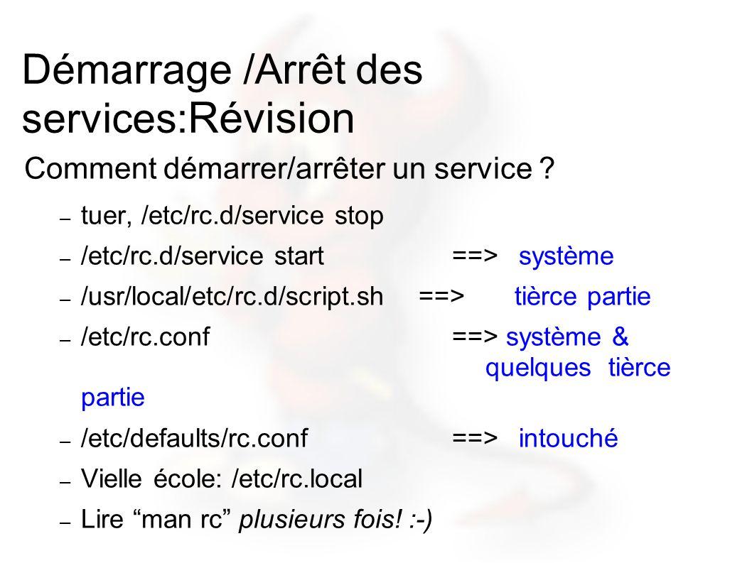Démarrage /Arrêt des services: Révision Comment démarrer/arrêter un service ? – tuer, /etc/rc.d/service stop – /etc/rc.d/service start==>système – /us