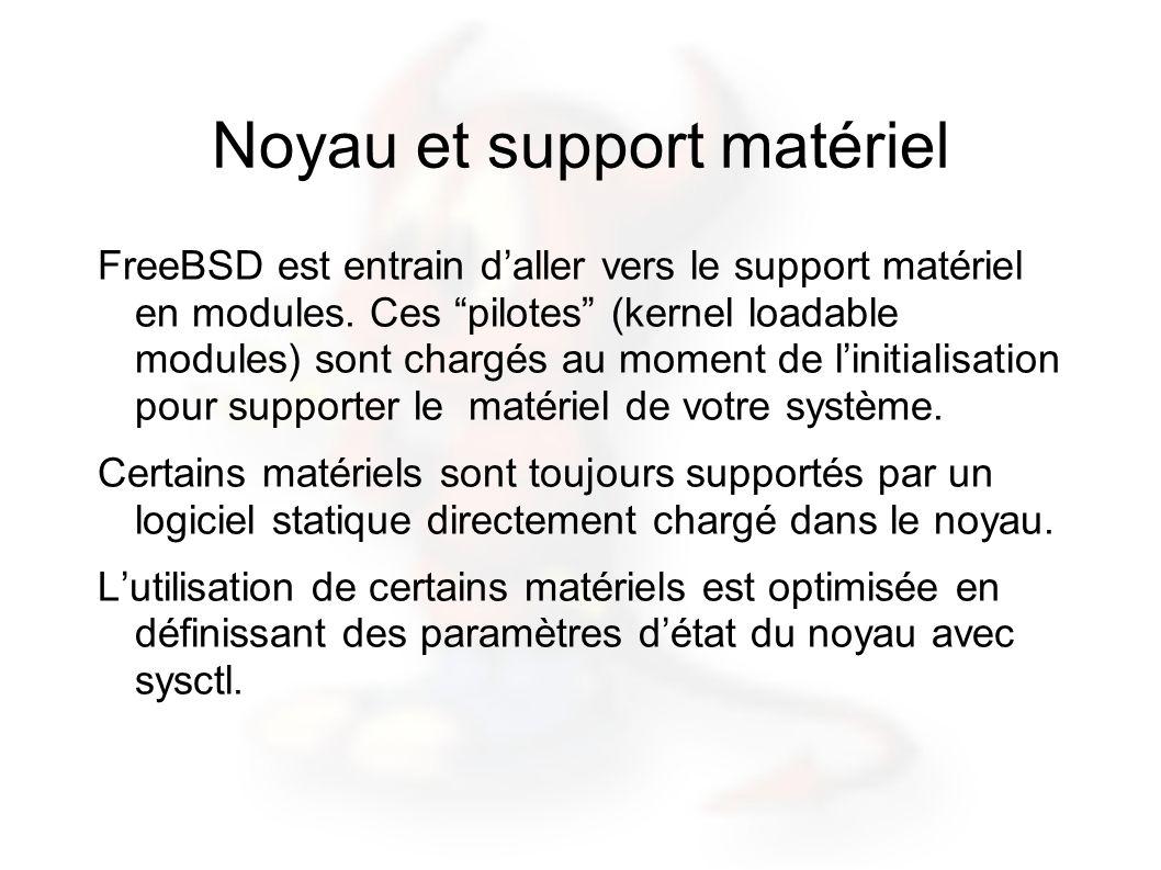 Noyau et support matériel FreeBSD est entrain daller vers le support matériel en modules. Ces pilotes (kernel loadable modules) sont chargés au moment