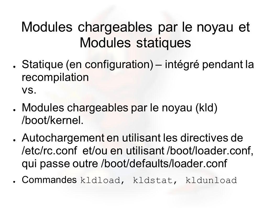 Modules chargeables par le noyau et Modules statiques Statique (en configuration) – intégré pendant la recompilation vs. Modules chargeables par le no
