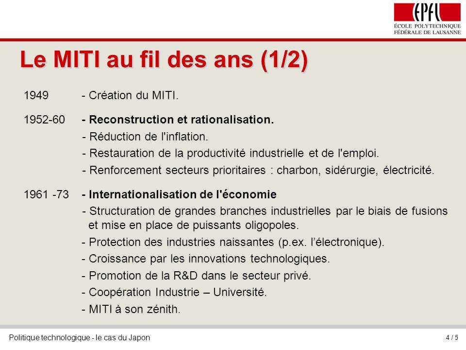 Politique technologique - le cas du Japon 4 / 5 Le MITI au fil des ans (1/2) 1949- Création du MITI. 1952-60- Reconstruction et rationalisation. - Réd