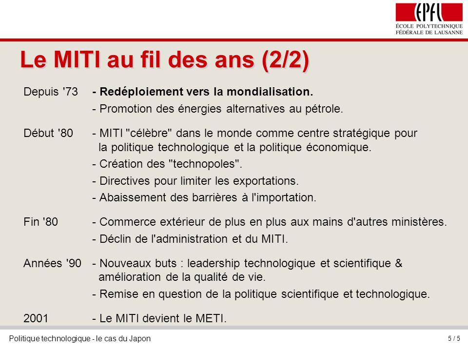 Politique technologique - le cas du Japon 5 / 5 Le MITI au fil des ans (2/2) Depuis '73 - Redéploiement vers la mondialisation. - Promotion des énergi