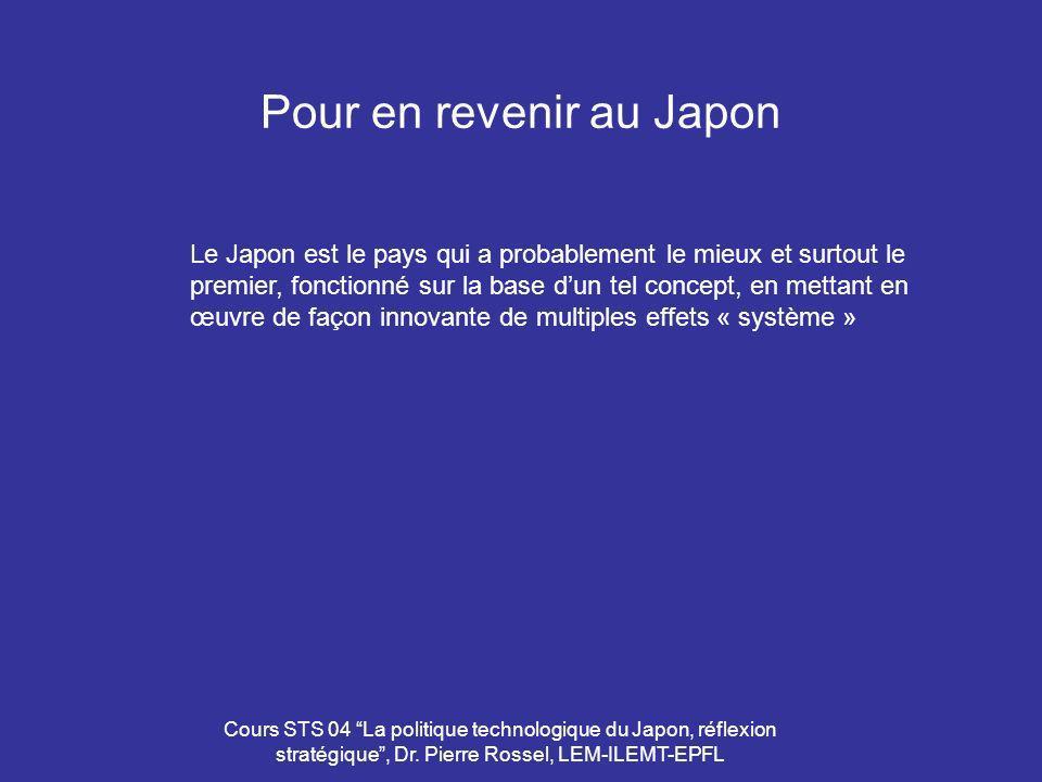 Cours STS 04 La politique technologique du Japon, réflexion stratégique, Dr. Pierre Rossel, LEM-ILEMT-EPFL Pour en revenir au Japon Le Japon est le pa