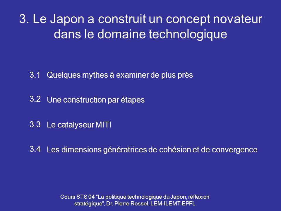 Cours STS 04 La politique technologique du Japon, réflexion stratégique, Dr. Pierre Rossel, LEM-ILEMT-EPFL 3. Le Japon a construit un concept novateur