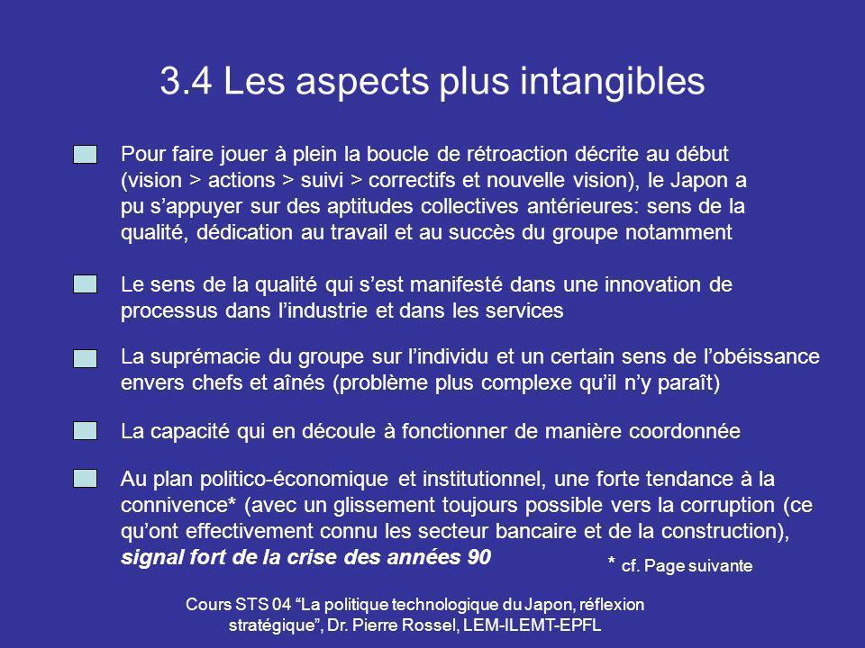 Cours STS 04 La politique technologique du Japon, réflexion stratégique, Dr. Pierre Rossel, LEM-ILEMT-EPFL 3.4 Les aspects plus intangibles Pour faire