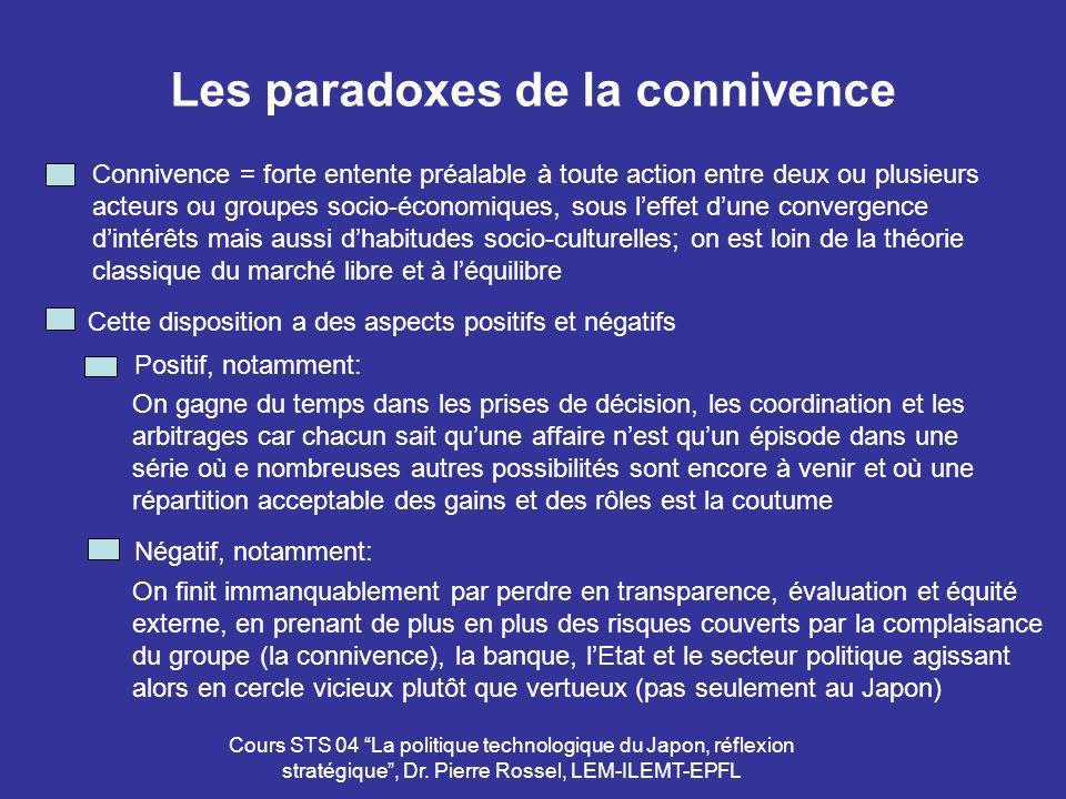 Cours STS 04 La politique technologique du Japon, réflexion stratégique, Dr. Pierre Rossel, LEM-ILEMT-EPFL Les paradoxes de la connivence Connivence =