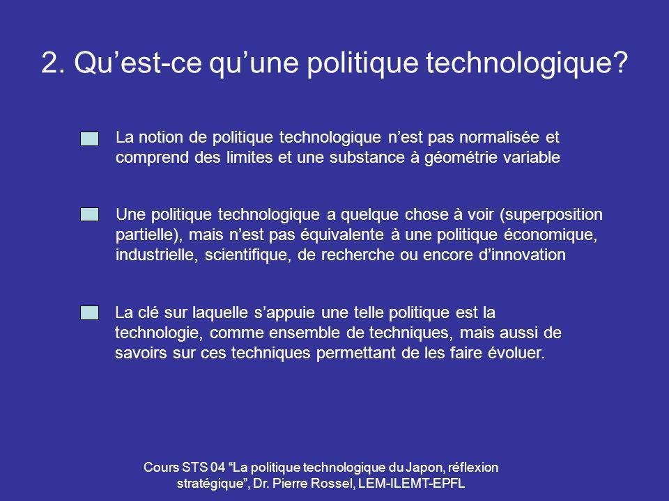Cours STS 04 La politique technologique du Japon, réflexion stratégique, Dr. Pierre Rossel, LEM-ILEMT-EPFL 2. Quest-ce quune politique technologique?