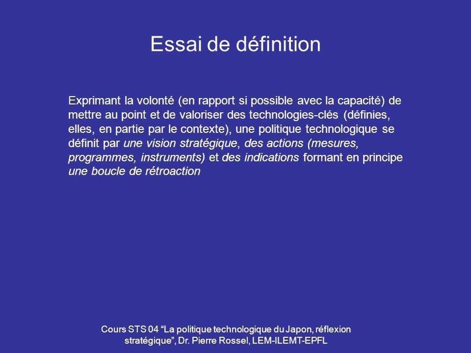 Cours STS 04 La politique technologique du Japon, réflexion stratégique, Dr. Pierre Rossel, LEM-ILEMT-EPFL Essai de définition Exprimant la volonté (e