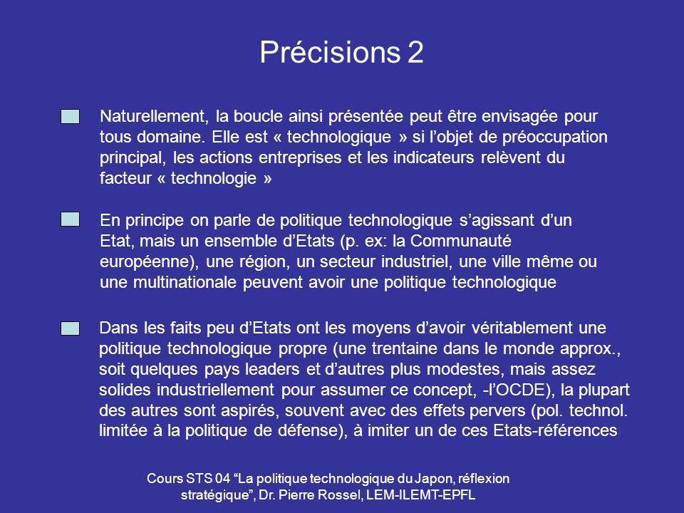 Cours STS 04 La politique technologique du Japon, réflexion stratégique, Dr. Pierre Rossel, LEM-ILEMT-EPFL Précisions 2 En principe on parle de politi
