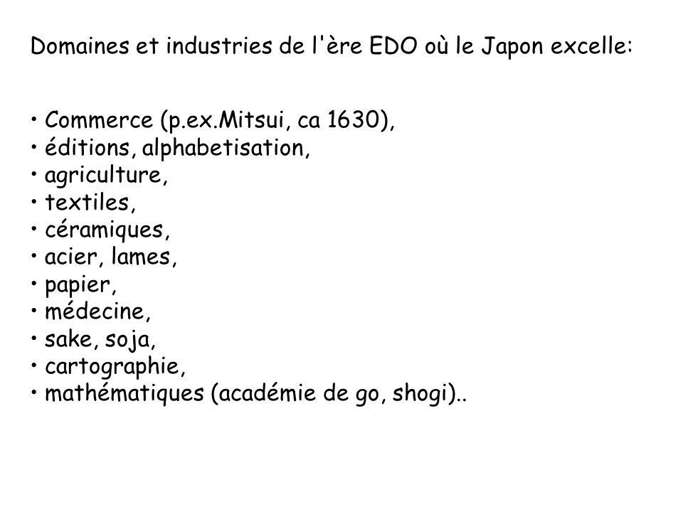 Domaines et industries de l'ère EDO où le Japon excelle: Commerce (p.ex.Mitsui, ca 1630), éditions, alphabetisation, agriculture, textiles, céramiques