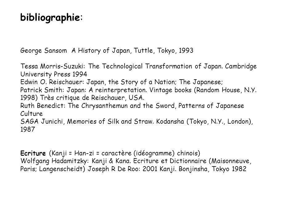 bibliographie: George Sansom A History of Japan, Tuttle, Tokyo, 1993 Tessa Morris-Suzuki: The Technological Transformation of Japan. Cambridge Univers