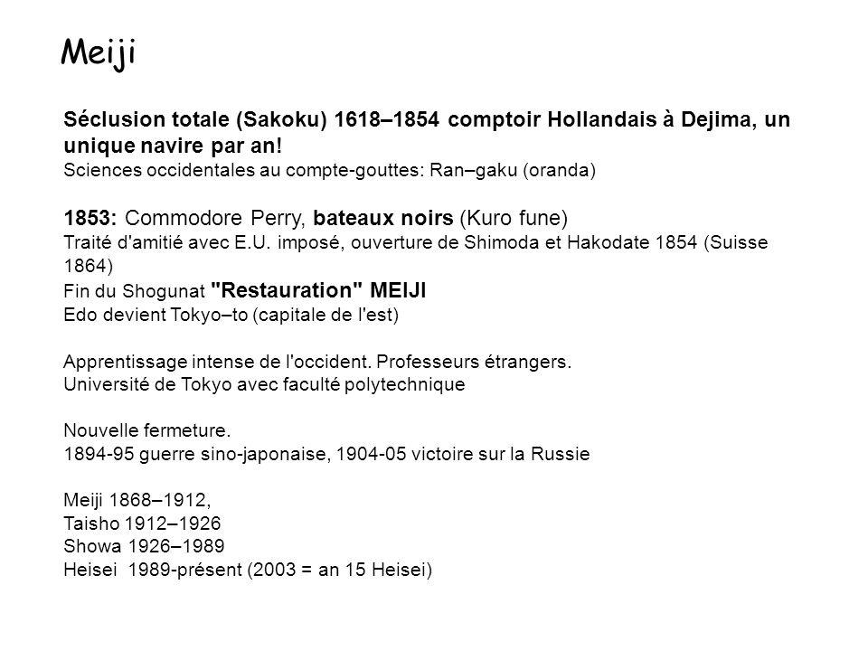 Séclusion totale (Sakoku) 1618–1854 comptoir Hollandais à Dejima, un unique navire par an! Sciences occidentales au compte-gouttes: Ran–gaku (oranda)