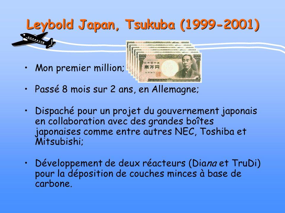 Leybold Japan, Tsukuba (1999-2001) Mon premier million; Passé 8 mois sur 2 ans, en Allemagne; Dispaché pour un projet du gouvernement japonais en coll