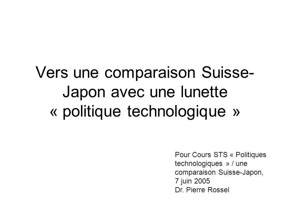 Vers une comparaison Suisse- Japon avec une lunette « politique technologique » Pour Cours STS « Politiques technologiques » / une comparaison Suisse-Japon, 7 juin 2005 Dr.