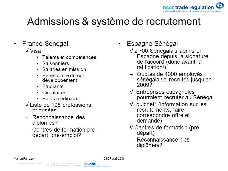 Marion PanizzonGTDF avril 2008 Admissions & système de recrutement France-Sénégal Visa Talents et compétences Saisonniers Salariés en mission Bénéfici