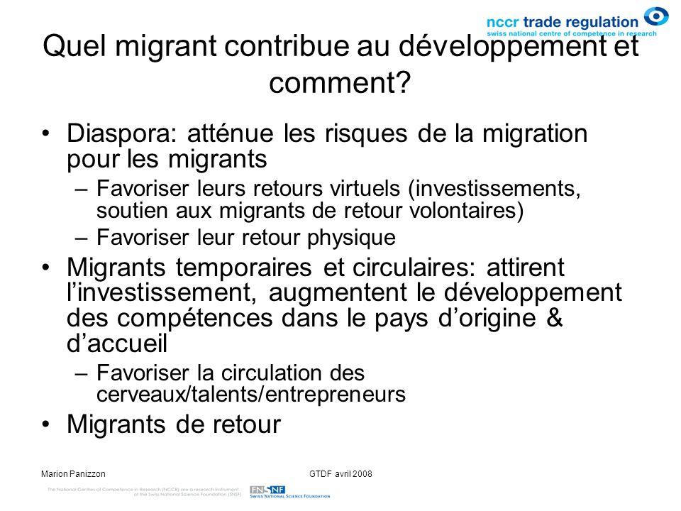 Marion PanizzonGTDF avril 2008 Quel migrant contribue au développement et comment? Diaspora: atténue les risques de la migration pour les migrants –Fa