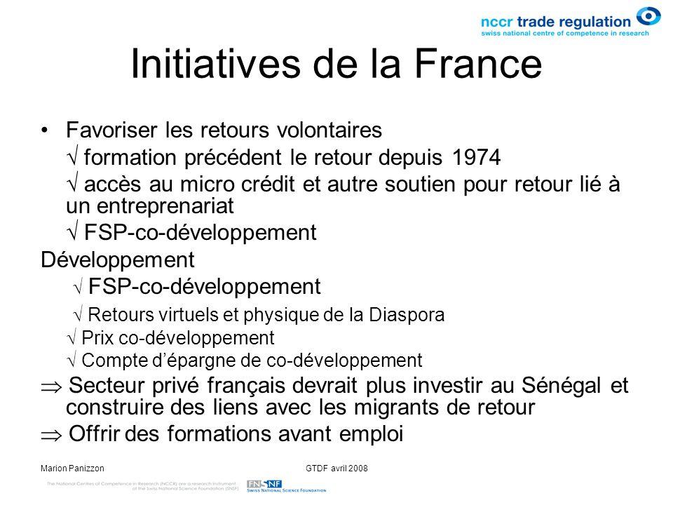 Marion PanizzonGTDF avril 2008 Initiatives de la France Favoriser les retours volontaires formation précédent le retour depuis 1974 accès au micro cré