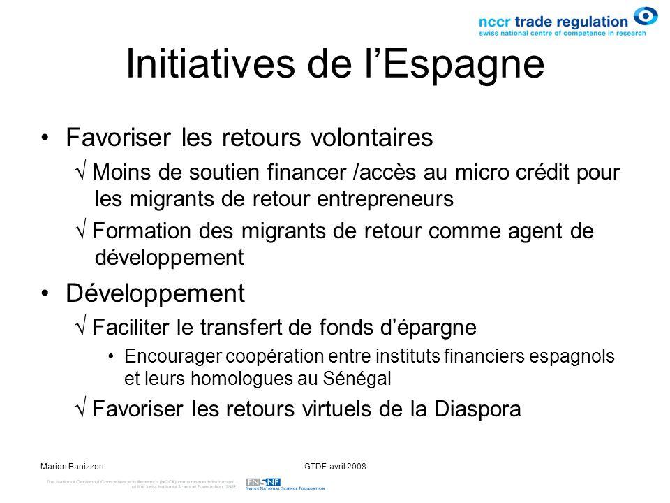 Marion PanizzonGTDF avril 2008 Initiatives de lEspagne Favoriser les retours volontaires Moins de soutien financer /accès au micro crédit pour les mig