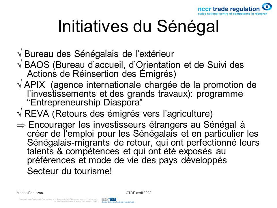 Marion PanizzonGTDF avril 2008 Initiatives du Sénégal Bureau des Sénégalais de lextérieur BAOS (Bureau daccueil, dOrientation et de Suivi des Actions