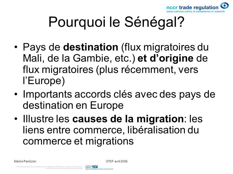Marion PanizzonGTDF avril 2008 Commerce & migration Effets de la politique protectionniste (libéralisation incomplète du commerce) –des subventions à la pêche, subventions à lagriculture détruit les emplois dans les secteurs de travail traditionnels du Sénégal la pression démigrer monte Attractivité croissante du Sénégal pour le capital –cest-à-dire les investissements étrangers réduiraient-ils la pression démigrer en Europe dans le sens où linstallation commerciale dentreprises étrangères créerait de lemploi?
