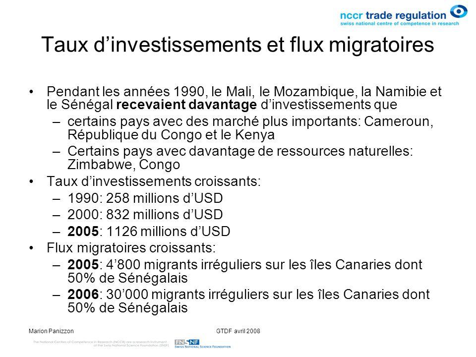 Marion PanizzonGTDF avril 2008 Accords franco-africains (sénégalais) relatifs à la migration (2) 2006: Accord de gestion concertée des flux migratoires et de co-développement lancé pour le Bénin, Congo Brazzaville, le Gabon, le Mali et le Sénégal –23 septembre 2006: signature de laccord entre la France et le Sénégal –20 février 2008: approbation par lAssemblée Nationale de laccord entre la France et le Gabon relatif à la gestion concertée des flux migratoires 25 février 2008: signature entre la France et le Sénégal dun avenant à laccord du 23 septembre 2006 Ratification en cours de laccord 2006 et de lavenant 2008.