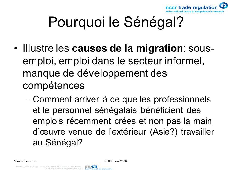 Marion PanizzonGTDF avril 2008 Pourquoi le Sénégal? Illustre les causes de la migration: sous- emploi, emploi dans le secteur informel, manque de déve