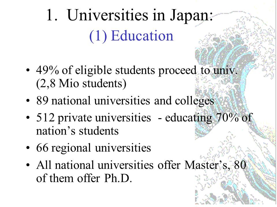 Hokkaido (7) Tohoku (7) Shikoku (7) Kanto (20) Chubu (22) Kinki (15) Chugoku (6) Kyushu (14) Okinawa (1) (Number of National Universities as of April 2002) Total = 99 ->89 as of April 2004