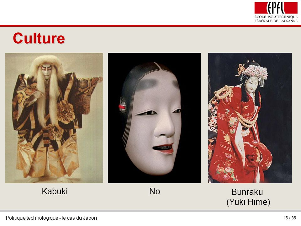 Politique technologique - le cas du Japon 15 / 35 Kabuki Culture No Bunraku (Yuki Hime)