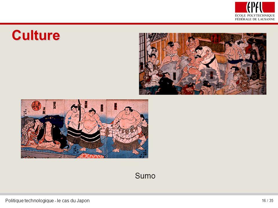 Politique technologique - le cas du Japon 16 / 35 Sumo Culture