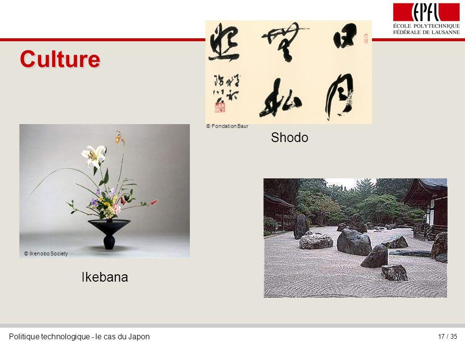 Politique technologique - le cas du Japon 17 / 35 Culture © Ikenobo Society Ikebana © Fondation Baur Shodo