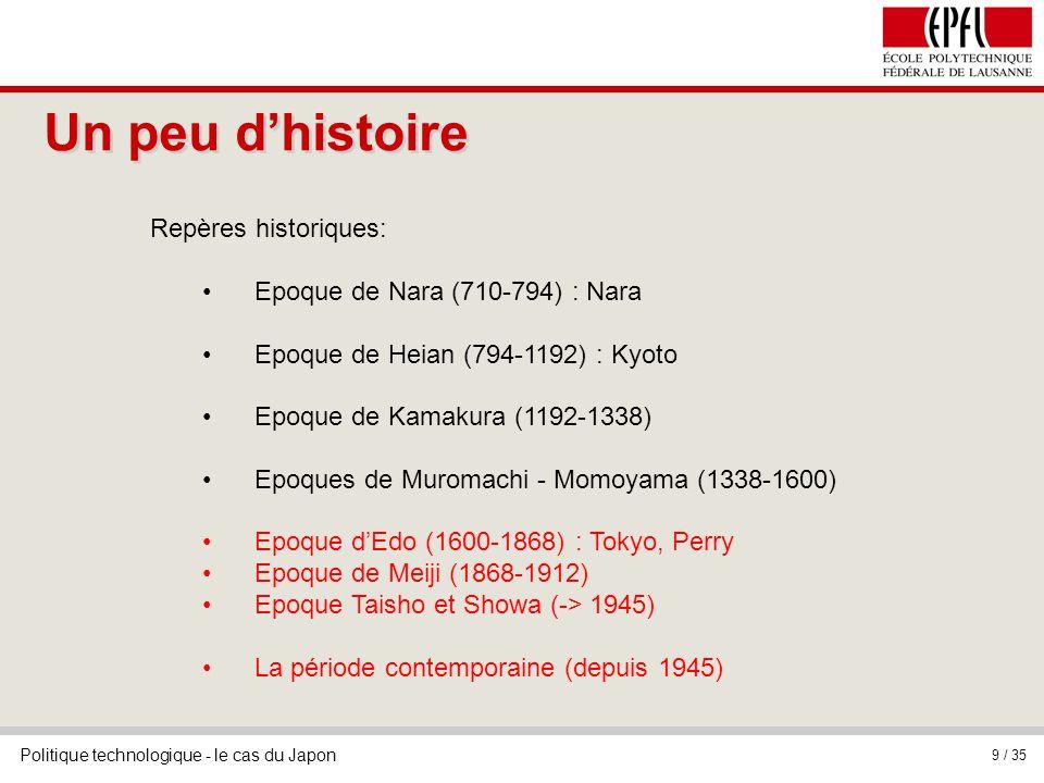 Politique technologique - le cas du Japon 9 / 35 Repères historiques: Epoque de Nara (710-794) : Nara Epoque de Heian (794-1192) : Kyoto Epoque de Kam