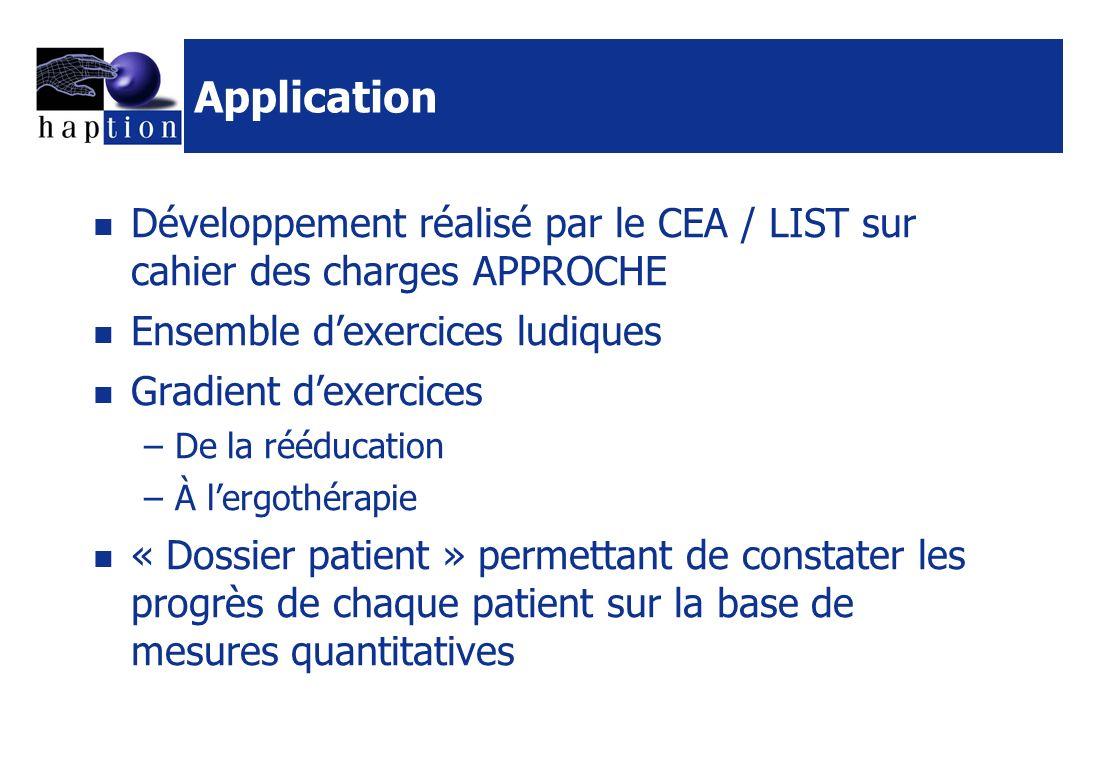 Application Développement réalisé par le CEA / LIST sur cahier des charges APPROCHE Ensemble dexercices ludiques Gradient dexercices –De la rééducatio