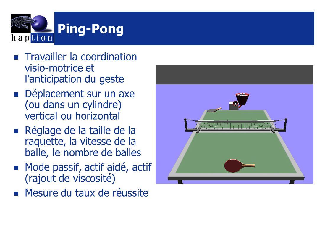 Ping-Pong Travailler la coordination visio-motrice et lanticipation du geste Déplacement sur un axe (ou dans un cylindre) vertical ou horizontal Réglage de la taille de la raquette, la vitesse de la balle, le nombre de balles Mode passif, actif aidé, actif (rajout de viscosité) Mesure du taux de réussite