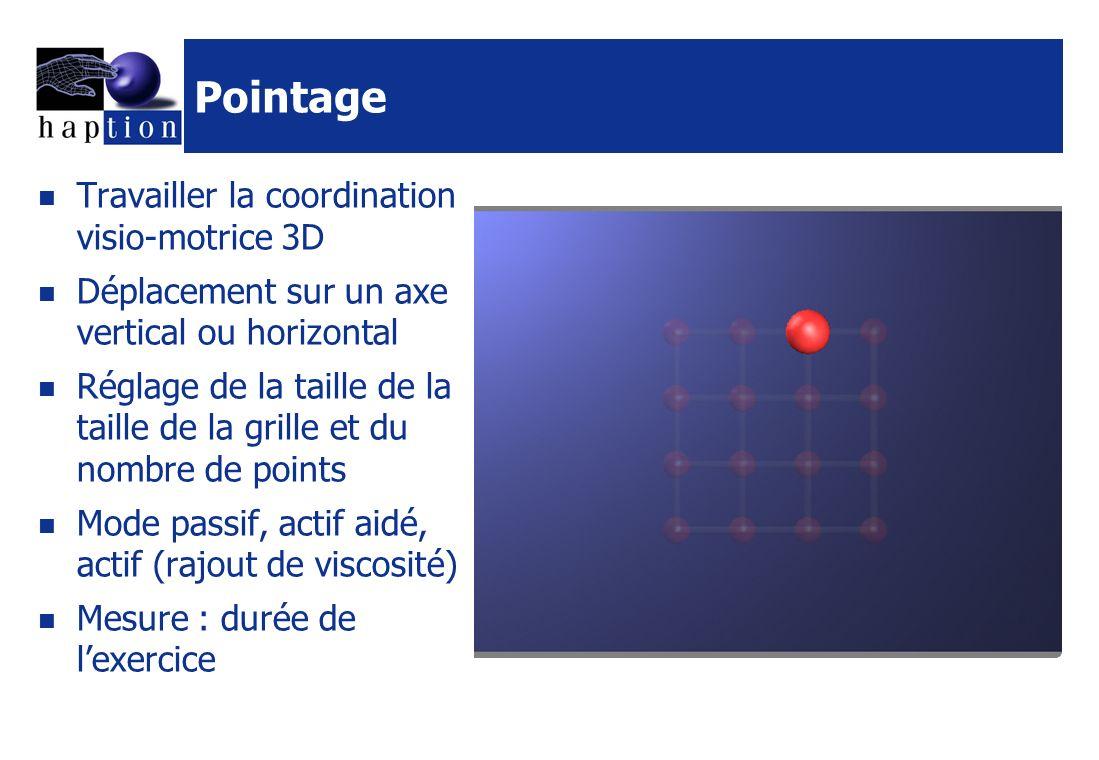 Pointage Travailler la coordination visio-motrice 3D Déplacement sur un axe vertical ou horizontal Réglage de la taille de la taille de la grille et du nombre de points Mode passif, actif aidé, actif (rajout de viscosité) Mesure : durée de lexercice