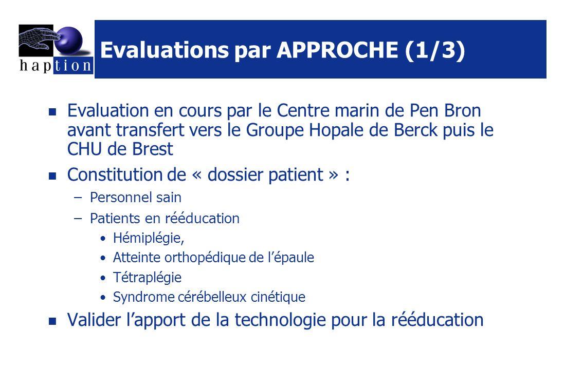 Evaluations par APPROCHE (1/3) Evaluation en cours par le Centre marin de Pen Bron avant transfert vers le Groupe Hopale de Berck puis le CHU de Brest