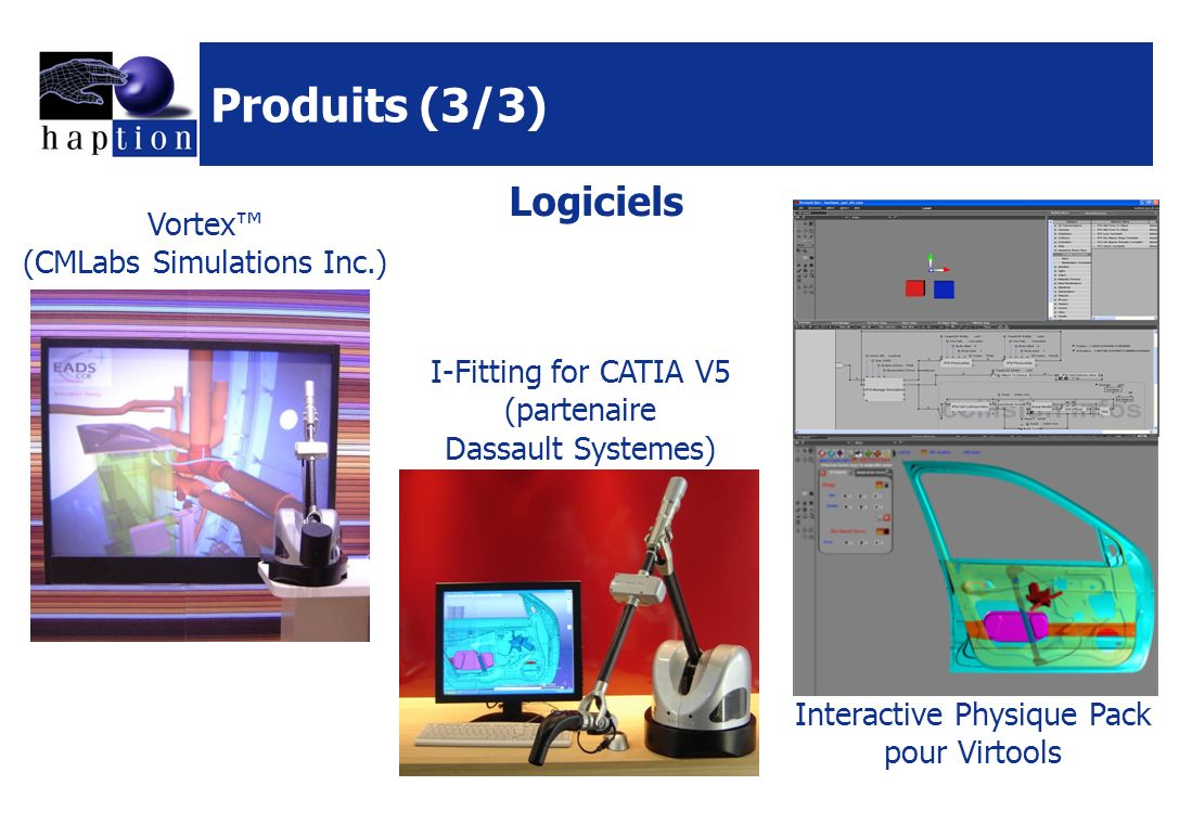 Produits (3/3) Vortex (CMLabs Simulations Inc.) I-Fitting for CATIA V5 (partenaire Dassault Systemes) Logiciels Interactive Physique Pack pour Virtool