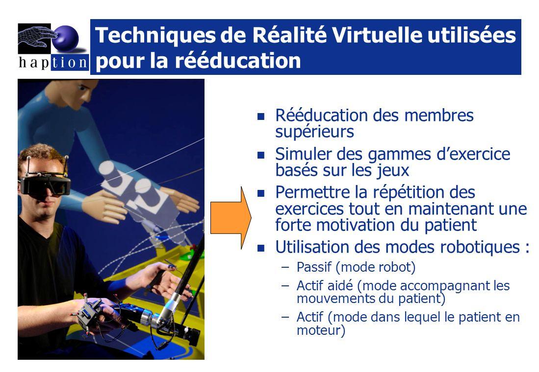 Techniques de Réalité Virtuelle utilisées pour la rééducation Rééducation des membres supérieurs Simuler des gammes dexercice basés sur les jeux Permettre la répétition des exercices tout en maintenant une forte motivation du patient Utilisation des modes robotiques : –Passif (mode robot) –Actif aidé (mode accompagnant les mouvements du patient) –Actif (mode dans lequel le patient en moteur)